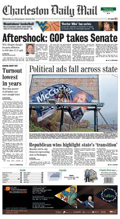 On Thursday's front page, the Republican Party is set to control both houses of the state Legislature for the first time since the Great Depression after Democratic state Sen. Daniel Hall switched his party affiliation to GOP Wednesday. State Republicans saw unprecedented gains in Tuesday's midterm election. Read more online at http://www.charlestondailymail.com/article/20141105/DM05/141109591