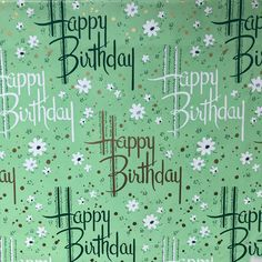 Love this spring like Happy Birthday paper. It's an oldie. And since st Patrick's day is right around the corner it seems fitting #vintagewrappingpaper #vintagegiftwrap