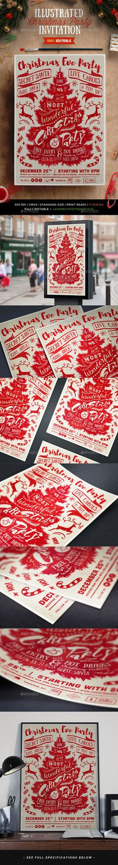 Illustrated Christmas Party Flyer Invitation - Invitations Cards & Invites