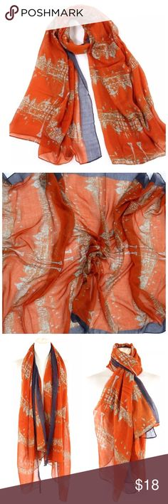 """B19 Architecture City Street Coral Red Scarf ‼️PRICE FIRM‼️   City Street Scarf Really fun.  Gorgeous coral/brick red color.  100% viscose.  38"""" wide, 74"""" long.  Please check my closet for many more items including designer clothing, jewelry, shoes, handbags & much more. Accessories Scarves & Wraps"""