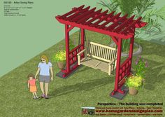 home garden plans: SW100 - Arbor Swing Plans - Swing Woodworking Plans - Outdoor Furniture Plans