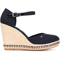 Tommy Hilfiger buckled wedge sandals (€88) ❤ liked on Polyvore featuring shoes, sandals, blue, tommy hilfiger footwear, wedges shoes, blue wedge heel shoes, blue wedge sandals and wedge sandals