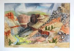 Bror Utter - Taos Gorge | From a unique collection of landscape drawings and watercolors at http://www.1stdibs.com/art/drawings-watercolor-paintings/landscape-drawings-watercolors/