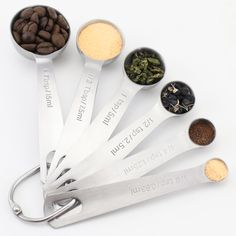 Love These Stainless Steel Spoons with  Engraved Marking in USA Standard & Metric Sizes Mg 1/8-Teaspoon, 1/4-Teaspoon, 1/2-Teaspoon, 1-Teaspoon, 1/2-Tablespoon and 1-Tablespoon
