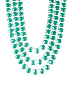 Green Glass Briolette & Beaded Triple Strand Necklace