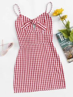 Shop Knot Front Plaid Cami Dress at ROMWE, discover more fashion styles online. Teen Fashion Outfits, Trendy Outfits, Cool Outfits, Womens Fashion, Fashion Trends, Cute Dresses, Casual Dresses, Short Dresses, Casual Clothes