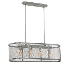 Millennium Lighting 3284 Akron 4 Light 36 Wide Linear Chandelier with Mesh Style Metal Oblong Shade (