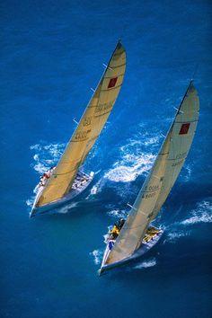 """Sailing yachts """"Corum"""" and """"Abracadabra"""" during Key West Race Week. © Onne van der Wal/CORBIS"""