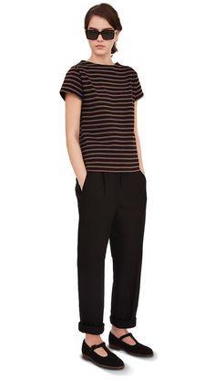 SS13 Black/Tan Cotton Cap Sleeve Matelot, Black Linen Twill Brace Button Trouser, Black Canvas Sandal, Tortoiseshell Sunglasses