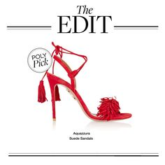 """""""The Edit: Aquazzura Suede Sandals"""" by polyvore-editorial ❤ liked on Polyvore featuring Aquazzura and theedit"""