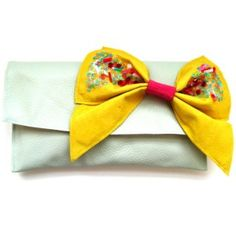 Green and Yellow Bow Bag by Dazed Dorothy
