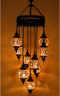 Turkish Mosaic Lamp 9 Moroccan Hanging Glass Chandelier Lighting From Ottoman Time Handmade Item