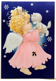 Ruth Morehead Christmas Card Angel Playing with Kitten Snowflakes | eBay