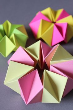 Ludorn shows how to make this neon origami shape - perhaps it could be a bracelet.