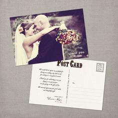 Vintage Wedding Postcard Thank You Cards  the by NostalgicImprints, $38.00
