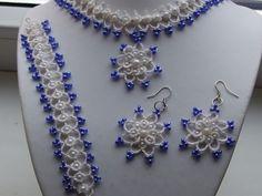 Parure blanche et bleu en dentelle frivolite: collier,bracelet, boucles d'oreille : Parure par bijoux-frivolite