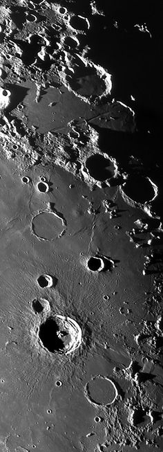 From crater Capuanus (top center) to crater Bullialdus (bottom center) Sistema Solar, Cosmos, Earth And Space Science, Earth From Space, Electric Universe, Moon Pictures, Moon Images, Astronomy Pictures, Planets And Moons