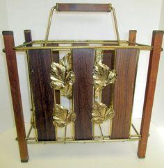 Vintage Hollywood Regency Magazine Rack Mid Century Modern Teak Wood Wire Brass
