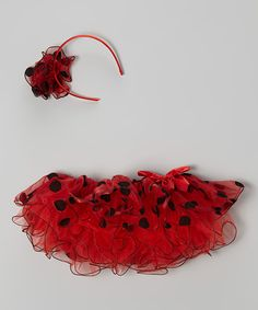 Look at this So Girly & Twirly Red & Black Polka Dot Tutu & Headband - Infant, Toddler & Girls on #zulily today!