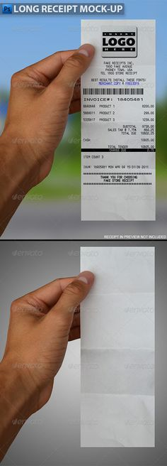 Business card mockup with actions pack pinterest mockup long receipt in hand mock up reheart Images