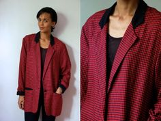 Vtg Gingham Red Black Checkered Slouchy Blazer by LuluTresors, $32.99