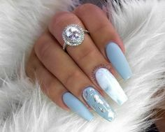Blue Gel Nails, Light Blue Nails, Blue Coffin Nails, Acrylic Nails Coffin Short, Blue Acrylic Nails, Simple Acrylic Nails, Gold Nails, Baby Blue Nails With Glitter, Blue Nails With Design