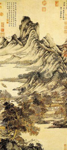 """《秋山草堂图》  元 王蒙 纸本设色 纵123.3厘米 横54.8厘米 台北故宫博物院藏      """"王叔明画,从赵文敏风韵中来。……泛滥唐宋诸名家,而从董源、王维为宗,故其纵逸多姿,往往出文敏规格之外""""。王蒙的画法,善变而多巧妙,喜画重山复岭之繁景,常用解索皴和焦墨点苔。所写山林树木,苍郁茂密而具有浑远的空间感。"""