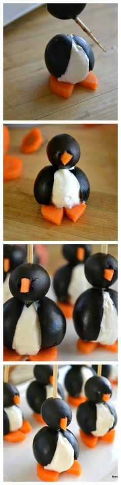 PARTY ANIMALS! Olive and Cream Cheese Penguins - are u kidding!!  Love love