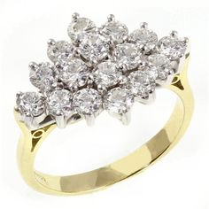 18ct yellow gold 2.00ct boat shape diamond cluster ring. - from Mr ...