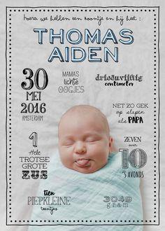 grappig geboortekaartje jongen, wordt op maat gemaakt (dus je kunt zelf een foto en teksten aanleveren!), vintage, schattig, alternatief