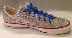White Rhinestone Converse Low Ox - Blue Crystal Laces Wedding, Prom, Formal