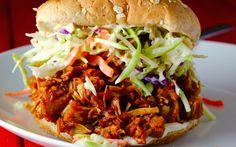<p>The jackfruit in this recipe is cooked in barbecue sauce with spices and brown sugar so it is smoky, sweet, and tangy. Once you take that first bite, you'll agree: this sandwich is fantastic! </p>