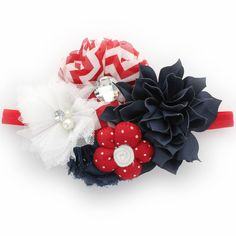 Patriotic Baby Shabby Fabric Flower Cluster Headband - stunning red, white, and blue baby flower headband includes a grouping of various navy petal blossom, red chevron frayed shabby, and chiffon flowers attached to a soft and stretchy narrow fold over elastic headband.  This couture headband is perfect as a 4th of July baby photo prop accessory, weddings, holiday events, and other special occasions.