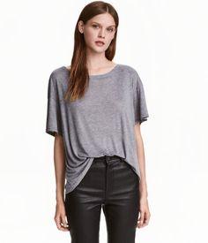 Silk-blend Top | Gray melange | Ladies | H&M US