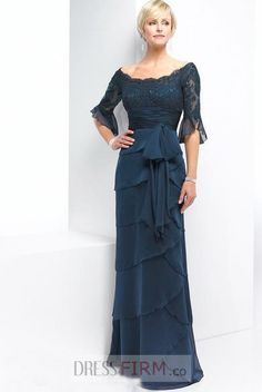 Dark Navy Off The Shoulder Band Chiffon Satin 1/2 Sleeves Empire Lace Mother Of Bride Dress