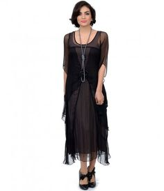 It's your romantic right, darling. An exquisite 1930s inspired dress in a delicate black gauze with subtle crotchet stit...Price - $215.00-42VSaLfd