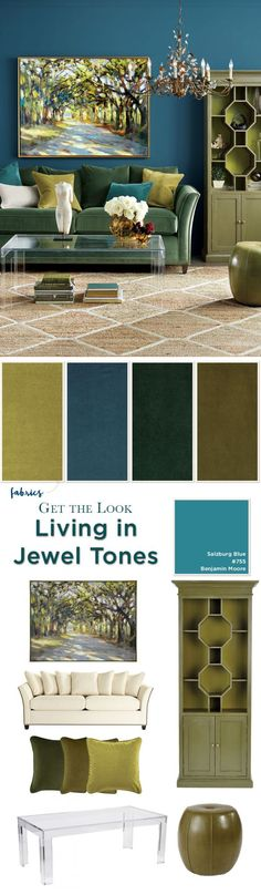 awesome Jewel toned living room from Ballard Designs Fall 2016 catalog. decoration sejour Jewel toned living room from Ballard Designs Fall 2016 catalog Living Room Decor Colors, Room Paint Colors, Living Room Paint, New Living Room, Interior Design Living Room, Living Room Designs, Living Room Artwork, Blue And Green Living Room, Blue Green
