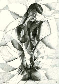 Roundism - Bettie Page - 31-01-15 Graphite on Canson Bristol paper (21 x 29,7 cm) (sold / verkocht) see more: www.corneakkers.com Sales info: info@corneakkers.com. See more: www.corneakkers.com. Follow me at twitter: @Corne_Akkers  #nude #art #arts #kunst #woman #model #Corné # Corne #Akkers #dutch #drawing #tekening #cubistic #kubisme #cubismo #cubisme #kubistisch #cubism #art deco #dessin #crayon #arte #arta #artista #artist #artiste #kunstenaar #rondisme #roundism