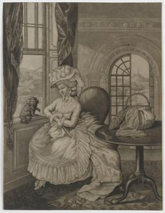 Black and white mezzotint depicting a woman seated by an open window regarding a small dog sitting on the window sill. The print is untitled, unsigned and undated, however it was suggested on acquisition that it dates from c.1780.