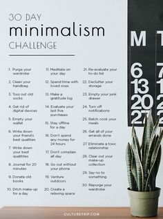 The 30 Day Minimalism Challenge|Pinterest: @theculturetrip