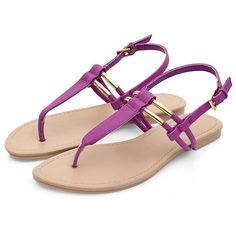 Purple Metal Trim T-Bar Sandals (28 SAR) ❤ liked on Polyvore featuring shoes, sandals, strap sandals, strappy shoes, strappy sandals, flat sole shoes and t bar shoes