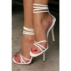 Women's Style Sandal Shoes Chic Fashion Prom Dresses Shoes White Peep Toe Strappy Stiletto Heels Ankle Strap Sandals 2017 White Strappy Sandals Open Toe Ankle Strap Stiletto Heels Shoes For Party Chic Fashion Prom Dresses Shoes Elegant Wedding Dresses Shoes Summer Bucket List Ideas Spring Outfits Women, Music Festival, Date, Big Day, Anniversary   FSJ