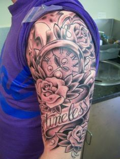 "Mens Arm #Tattoo with Clock And Quote ""Timeless"" #Tattoos"