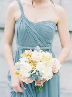 If you're brainstorming romantic wedding ideas, think elaborate florals, a sweeping gown and elegant décor. As for your color scheme? Think pastels. colors pastel If You Want a Romantic Wedding, Look at These Pastel Color Scheme Ideas Romantic Wedding Receptions, Romantic Weddings, Wedding Events, Blue Weddings, Chic Bridesmaid Dresses, Wedding Bridesmaids, Wedding Dresses, Wedding Bouquet, Wedding Flowers