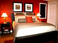 Interior. Exquisite Dark Orange Paint Wall Color Romatic Bedroom Design With Black Painted Mahogany Bed Frame And Cool Cones Bed Lamp On Small Nightstand With Wall Painting Living Room Also House Paint Color Schemes. The Most Popular Accent Wall Color Ideas For Home Interior Design