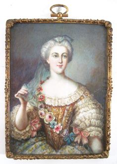 Antique Signed French Watercolor Portrait Miniature Painting 18c Woman Valberg   eBay