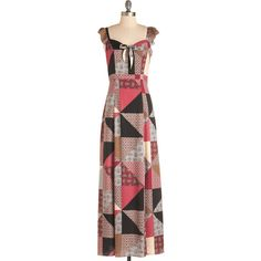 Boho Long Sleeveless Maxi Jam Patched Dress by ModCloth (56 CAD) ❤ liked on Polyvore featuring dresses, apparel, fashion dress, varies, boho chic dresses, boho style dresses, long bohemian dresses, long boho dress and boho dress