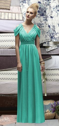 turquoise bridesmaid dress: Greek goddess inspired.  Love the way it drapes on the shoulder.