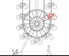 Manifesto Architecture created a rotating, ferris-wheel design for a vertical bike storage facility that was submitted to a design competition in Seoul, Korea. Vertical Bike Storage, Bicycle Storage, Bike Hanger, Design Competitions, Street Art, Ceiling Lights, Detail, Beams, Columns