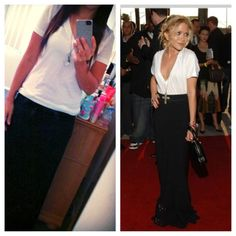 White v neck tee black maxi :)